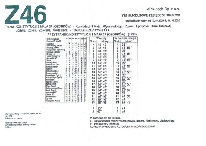Rozkład jazdy: Konstytucji 3-go Maja 37 (Ozorków) – Radogoszcz Wschód (Łódź)